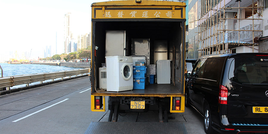 A truck loaded with appliances